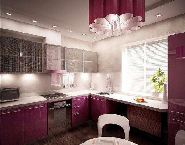 встроенное освещение на угловой кухне для малогабаритной кухни