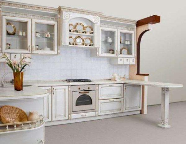 угловой гарнитур классика на маленькой кухне с барной стойкой