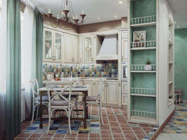 угловой гарнитур на маленькой кухне совмещённой с гостиной