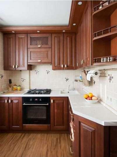 коричневая угловая кухня для малогабаритной кухни