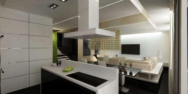 интерьер кухни гостиной в стиле хай тек
