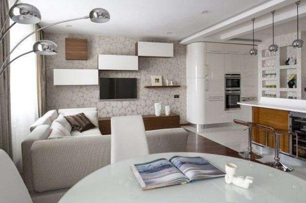 интерьер кухни гостиной в стиле модерн
