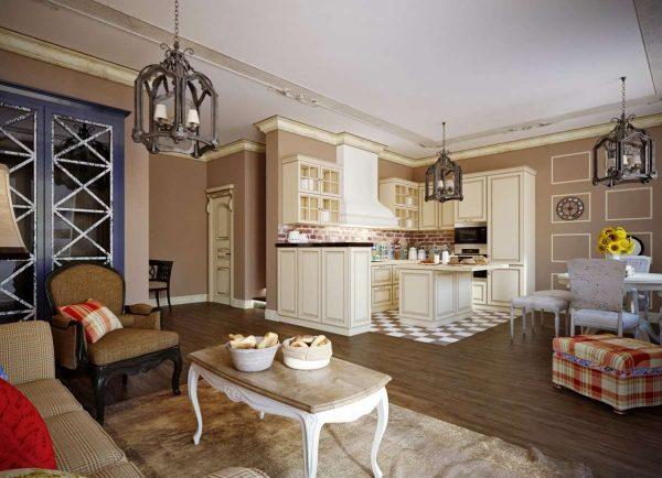 кантри в интерьере кухни гостиной