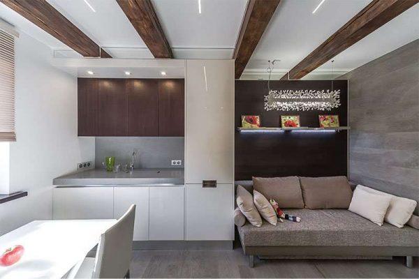 функциональное размещение на кухне гостиной