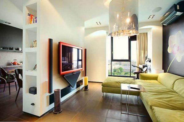 интерьер кухни гостиной с гипсокартонной перегородкой