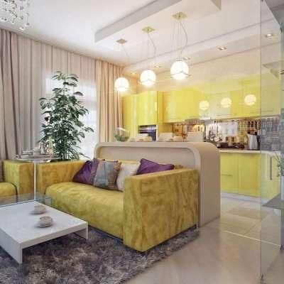 жёлтый цвет в интерьере кухни гостиной