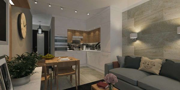 угловая кухня совмещённая с гостиной