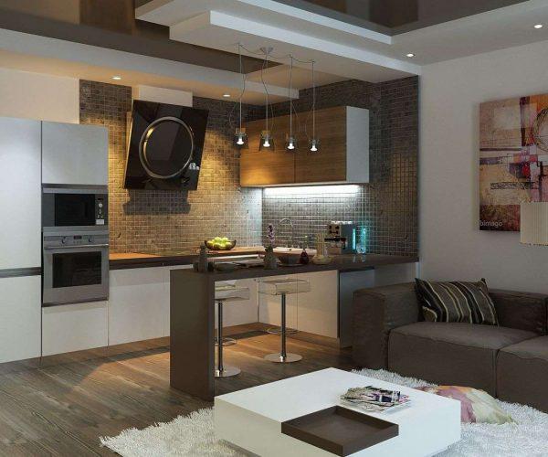 фартук на две стены из мелкой плитки в интерьере кухни гостиной