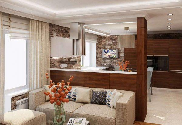 интерьер кухни гостиной с перегородкой