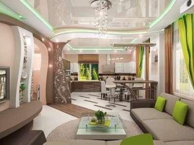 зелёный декор в интерьере кухни гостиной