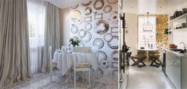 интерьер кухни столовой с акцентной стеной