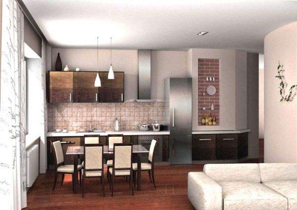 интерьер прямой кухни столовой