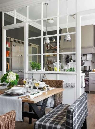 перегородки для зонирования кухни столовой