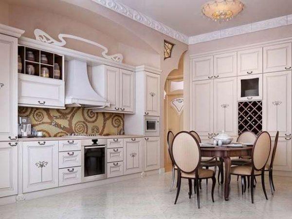 светлый интерьер кухни столовой