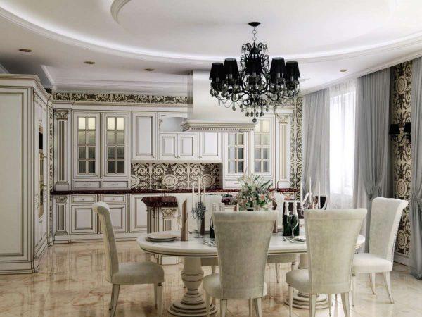 интерьер кухни столовой в классическом стиле
