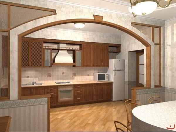 интерьер линейной кухни столовой