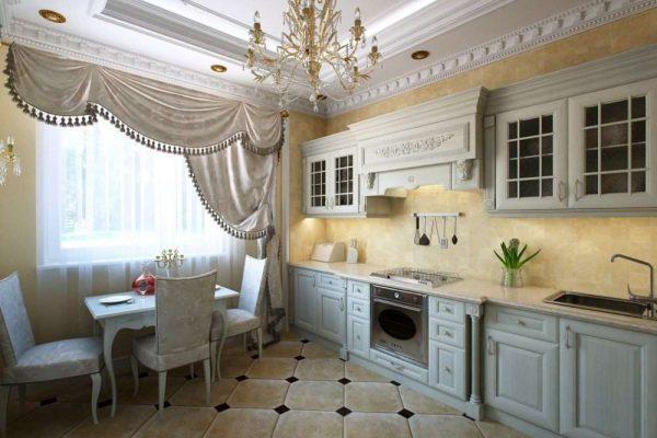интерьер голубой кухни столовой классика