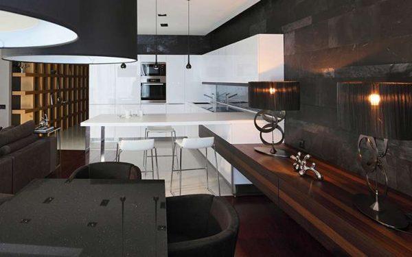 интерьер кухни столовой в минималистическом стиле