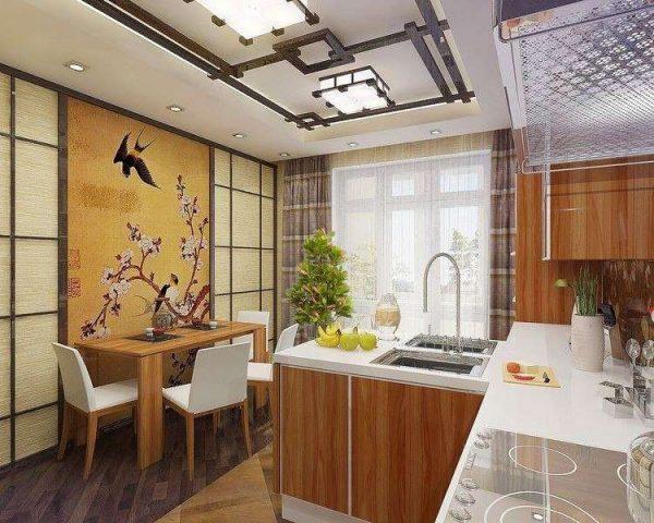 интерьер кухни столовой в минималистическом японском стиле