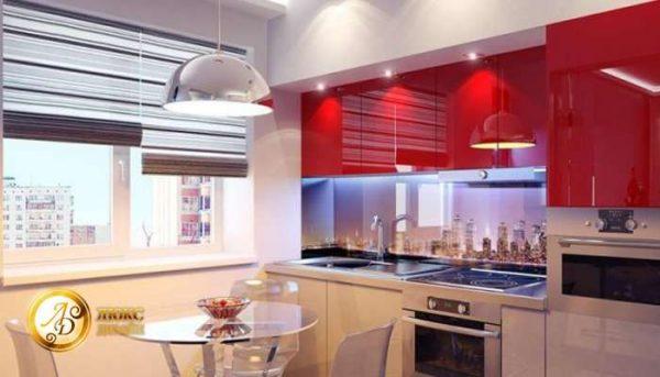 освещение на красной кухне