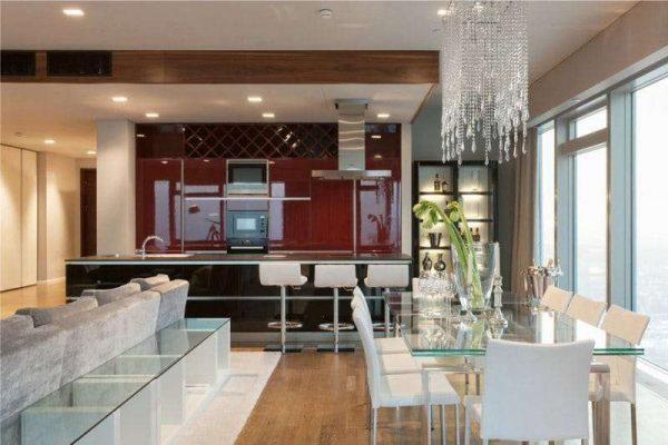 красный глянцевый гарнитур в интерьере кухни