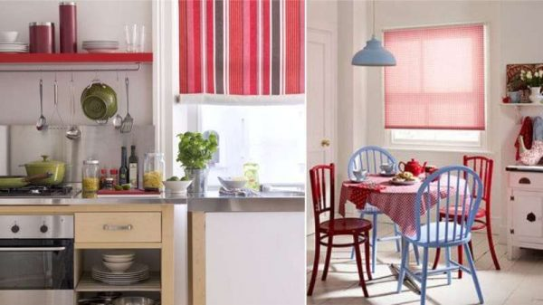 красные рулонные шторы в интерьере кухни