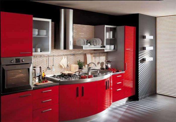 красный гарнитур в интерьере кухни