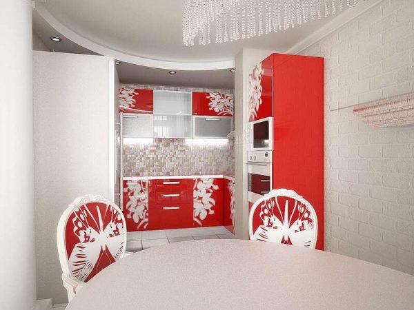 красный и белый в интерьере кухни