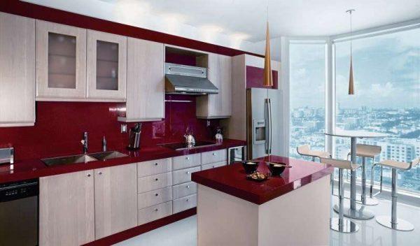 белый и красный цвет в интерьере кухни