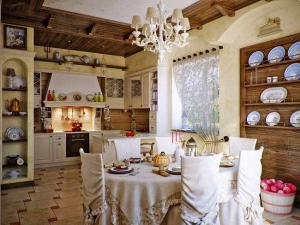 кухня в стиле прованс с обеденным столом