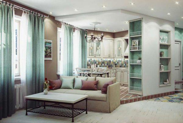 кухня в стиле прованс в квартире студии