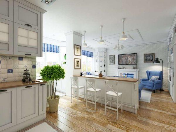 просторная кухня-гостиная в стиле прованс