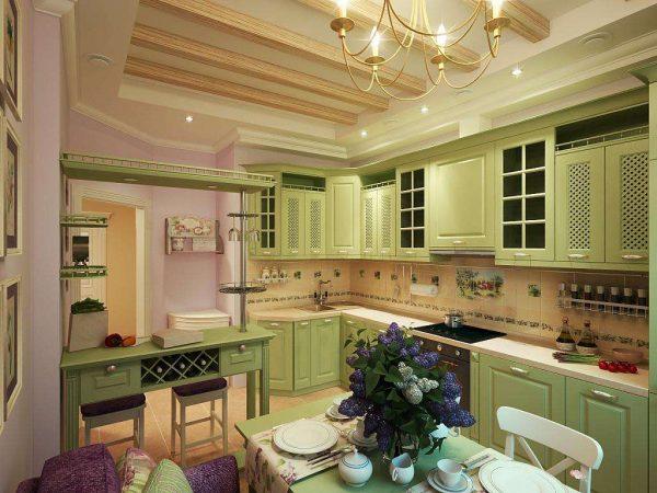 зелёная кухня в стиле прованс