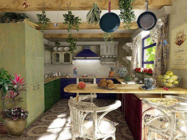 кухня в стиле прованс с зелёным шкафом