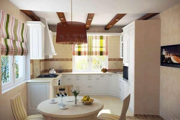 угловая кухня с окном посередине