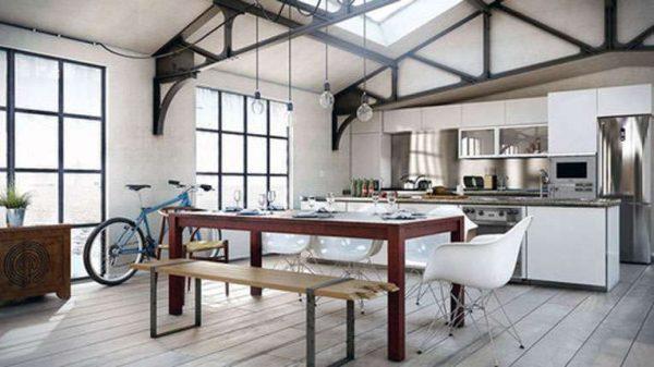 Дизайн кухни лофт в частном доме