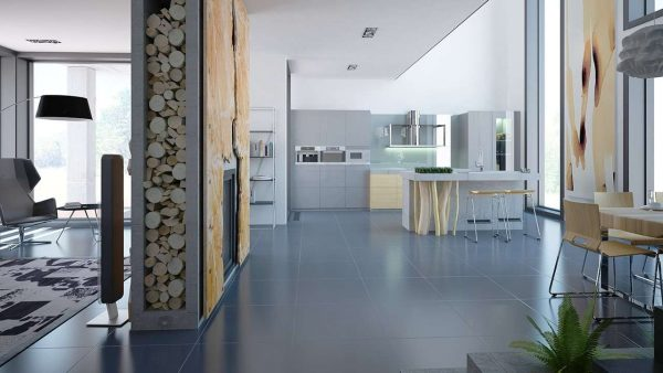Дизайн кухни в частном доме в стиле минимализм