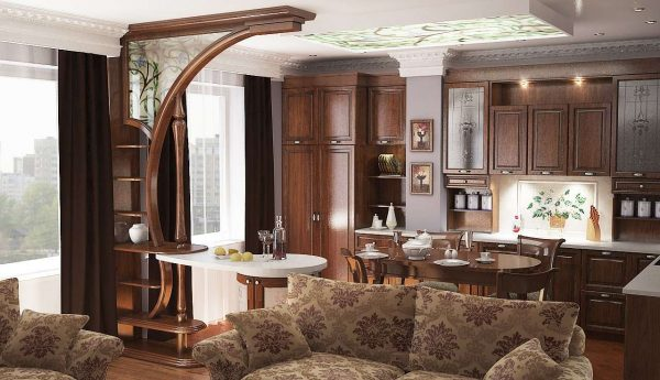 Дизайн кухни в классическом стиле в частном доме