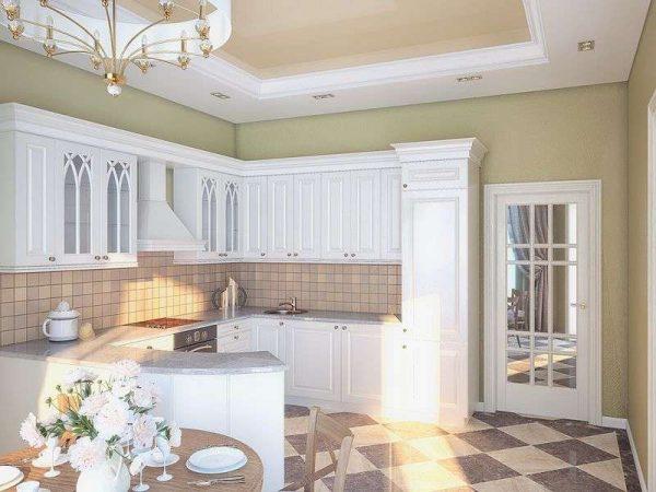 Дизайн кухни классика в частном доме