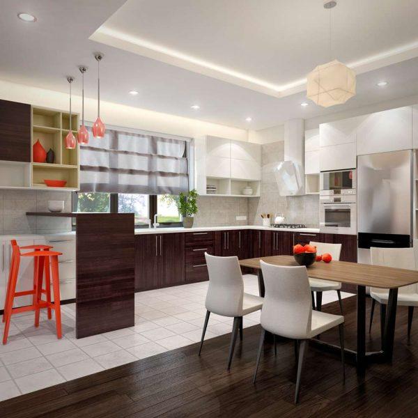 Дизайн интерьера кухни-гостиной и прихожей в частном доме