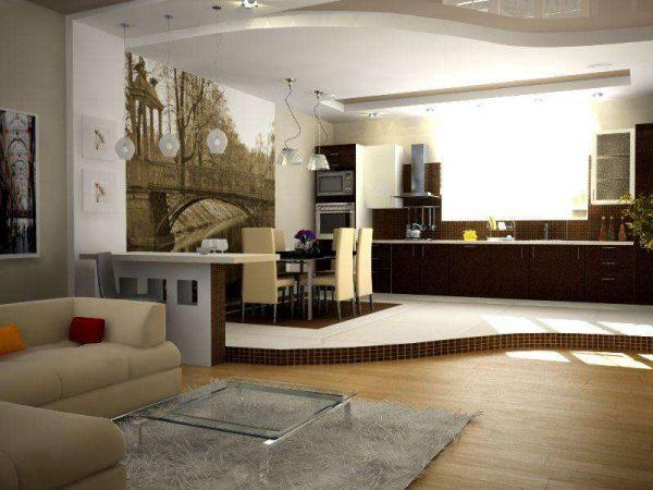 зонирование по полу на кухне в частном доме