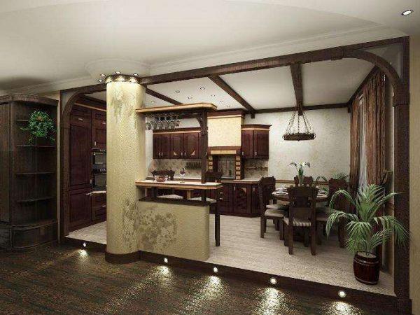 освещение кухни студии в частном доме