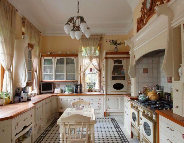 Дизайн кухни прованс в частном доме освещение