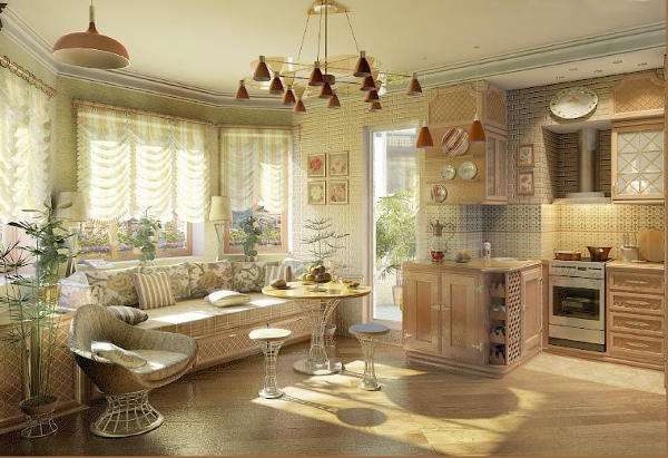 Дизайн кухни прованс в частном доме с люстрами