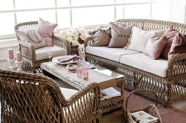 Дизайн кухни прованс в частном доме плетённая мебель