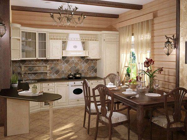 кафель на полу кухни в деревянном доме