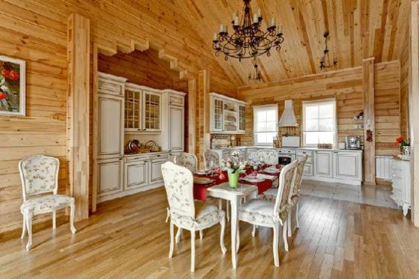 интерьер кухни в деревянном доме в стиле прованс