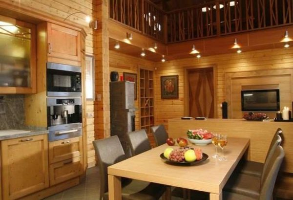 интерьер кухни из блок хауса в деревянном доме