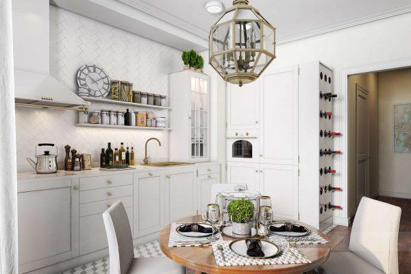 Интерьер кухни в однокомнатной квартире в современной классике