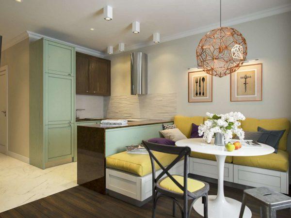 зона отдыха в кухне в однокомнатной квартире